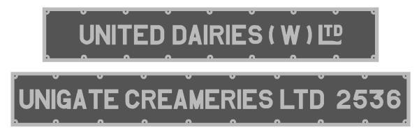 UD - Unigate Milk Tank Plates