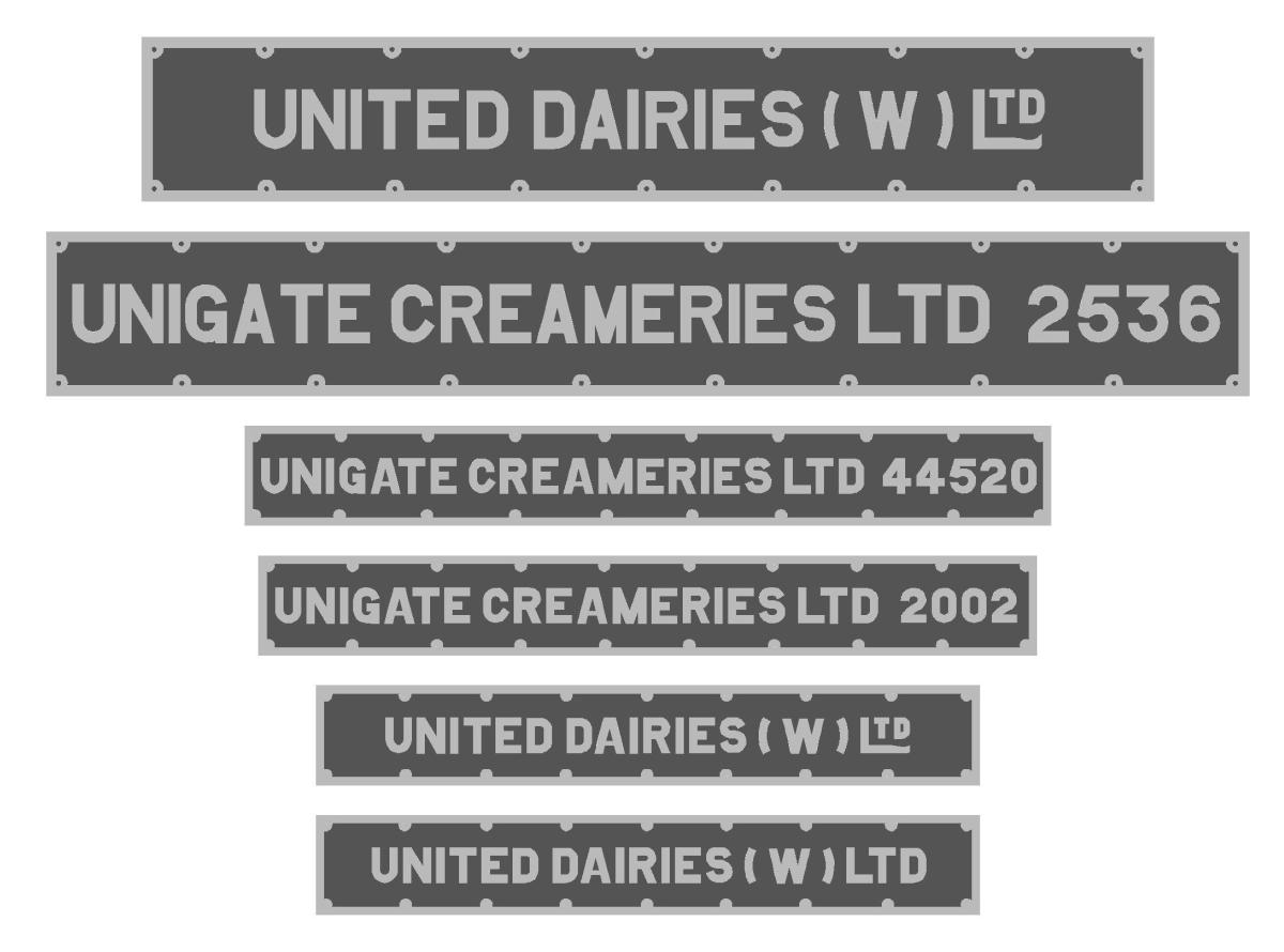 July 2016 United Dairies Milk Tank Numberplates